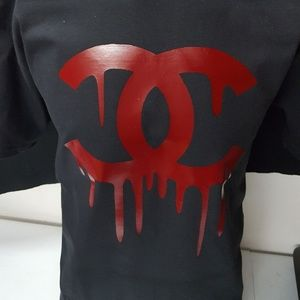 Chanel bleeding logo graphic t-shirt
